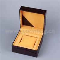 Leather paper covered gold custom foil logo white watch box