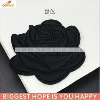 single rose 7.5*6.5cm hotfix embroidery patch wholesale for garment sample free