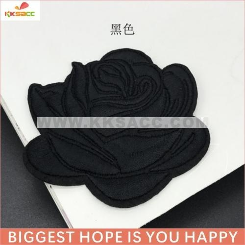 Cheap single rose 7.5*6.5cm hotfix embroidery patch wholesale for garment sample free for sale