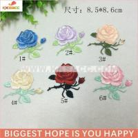 Quality beautiful rose hotfix embroidery patch wholesale for shirt free sample wholesale