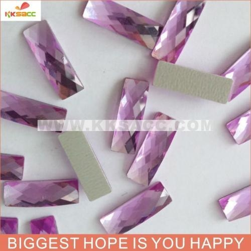 China 5*19MM PURPLE COLOR HOT FIX EPOXY FACTED STONE FOR SHIRTS