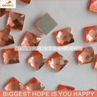 Quality 7*7MMSQUARE PEACH COLOR HOT FIX EPOXY FACTED STONE FOR CLOTHES wholesale