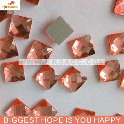 China 7*7MMSQUARE PEACH COLOR HOT FIX EPOXY FACTED STONE FOR CLOTHES