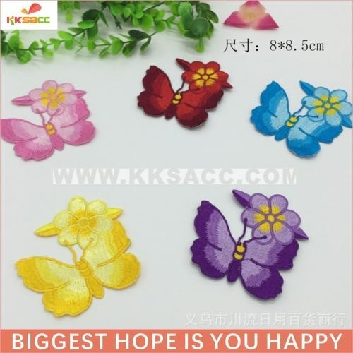 China hotfix butterfly with flower embroidery patch wholesale make in china