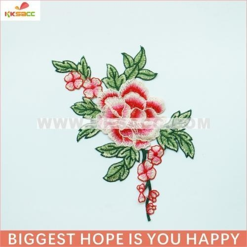 China NEW arrival pink flower j&d embroidery patterns in fashion accessories garment