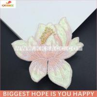 Buy cheap fashionable single water lily iron flower embroider patches wholesale from wholesalers
