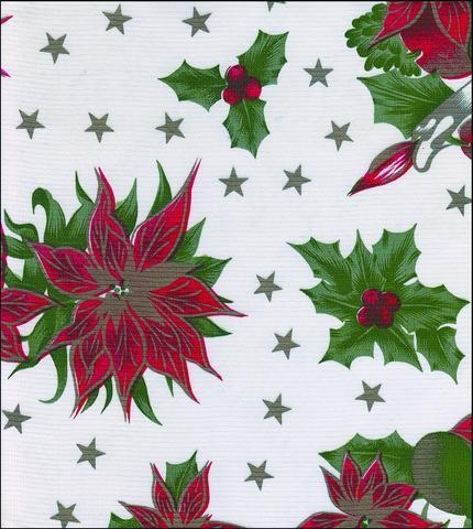 Cheap Christmas Stars White Oilcloth for sale