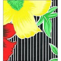 Buy cheap Big Flowers and Stripes Black Oilcloth 28.5