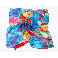 China Lady Winter New Square Printing Silk Scarves and Wrap for Hair and Neck on sale