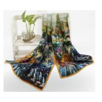 China Fashion Summer Silk Long Womens Floral Scarf with Iris Garden Oil Painting for Mother's Day on sale