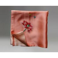 China Handmade Embroidered Square Silk Scarves Handkerchief and Small Neck Scarves As Gift on sale