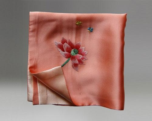 Cheap Handmade Embroidered Square Silk Scarves Handkerchief and Small Neck Scarves As Gift for sale