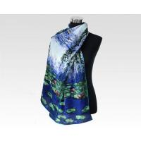 Quality Ladies Blue Silk Skinny Chiffon Crepe De Chine Scarf for Christmas Day Gift wholesale