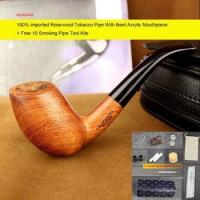 China Imported Rosewood Tobacco Pipe Handmade Bent Smoking Pipe with Cleaners Pipe Rack ad0030 on sale