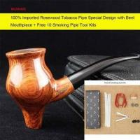 China 100% Handmade Rosewood Tobacco Pipe Cigarettes Bent Pipe with Cleaners Pipe Rack ad0037 on sale
