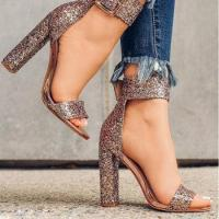 China HFCS409 Large Size Autumn New Style sequins gold color women sandals high heels on sale