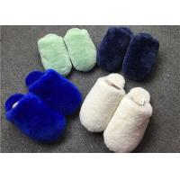 China Closed Toe Shearling House Slippers , Ladies Sheepskin Slippers With Rubber Sole on sale