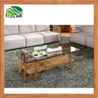 Quality Rectangular Bamboo Coffee Table with Glass Top for Living Room wholesale