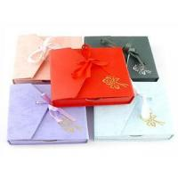 Quality Pretty Paper Gift Box Square Jewelry Box With Ribbon wholesale