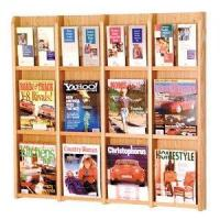 Quality 12 Magazine Oak and Acrylic Wall Mount / Literature Display Rack wholesale