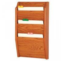 Quality Chart and File Holder, Tapered Bottom Wall Mounted, 3 Pocket, Letter Size, Oak Wood Finish wholesale