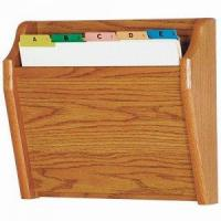 Quality Chart and File Holder, Tapered Bottom Wall Mounted, 1 Pocket, Letter Size, Oak Wood Finish wholesale
