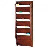 Quality Chart and File Holder, Tapered Bottom Wall Mounted, 5 Pocket, Letter Size, Oak Wood Finish wholesale