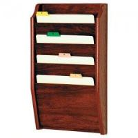Chart and File Holder, Tapered Bottom Wall Mounted, 4 Pocket, Letter Size, Oak Wood Finish