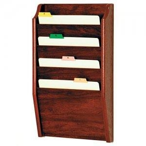Cheap Chart and File Holder, Tapered Bottom Wall Mounted, 4 Pocket, Letter Size, Oak Wood Finish for sale