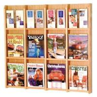 Quality 12 Magazine / 24 Brochure Oak and Acrylic Wall Display Literature Rack wholesale