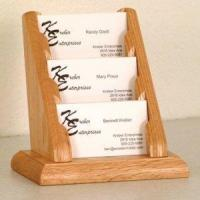 Buy cheap 3 Pocket Countertop Business Card Holder - Light Oak from wholesalers