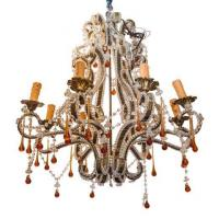 China Gilt metal and crystal beaded multi colored chandelier Stock Number: L349 on sale
