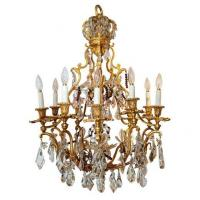 China 19th C. French Multi-Colored Crystal and Bronze Chandelier Stock Number: L155 on sale