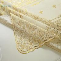 China Lace pattern gold stain resistant anti bacteria pvc table cover on sale