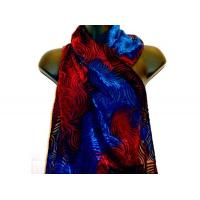 China Fiber Art & Weaving Wine and royal blue hand dyed silk velvet burnout scarf on sale