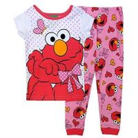Sesame Street Elmo Little Girls Toddler Cotton Pajama Set-Sleepwear