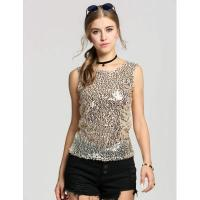China Gold Shining Bling Sequin Sleeveless Crew Neck Fit Tank Tops on sale