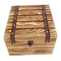 Quality Wooden Wine Box Trunk Chest Keepsake Burnt Vin wholesale
