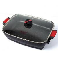 Quality Electric Cast Iron Skillet Fume-free Square Marble Ceramic Stone Electric Pan wholesale