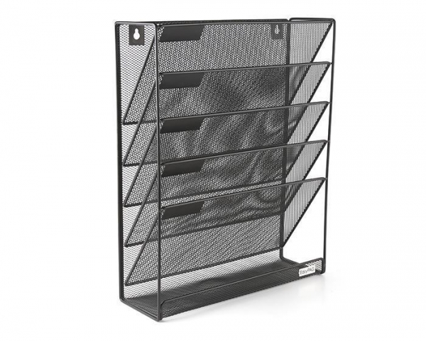 Cheap Mesh Wall Mounted Hanging File Holder Organizer Literature Rack 5 Tier Black for sale