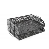Quality Carved Hollow Flower Pattern Stacking 2 Tier Office Desk Letter Tray wholesale