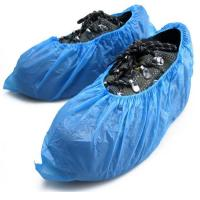 China Elastic Sewn Non Slip Shoe Covers Disposable , Single Use Blue Plastic Overshoes on sale