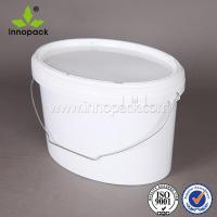 Quality oval shape white no printing plastic bucket with metal handle and lid wholesale