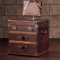 Quality Vintage Sofa trunks Vintage Genuine Leather Wood Box Suitcase wholesale