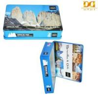 Quality Customize Rectangle Blue Gift Tin Box Painting with Scenery of Torres Del Paine wholesale