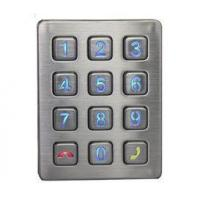 China Weather proof illuminated 12- key industrial stainless steel access door control keypad on sale
