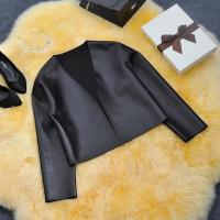 China Sex Womens Slim Black Biker Motorcycle Synthetic PU Leather Zipper Jacket Coat on sale