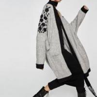 Women Fashion Oversize Cardigan Sweater with Embroidery