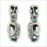 Crystal stone& tulip tin casting earring