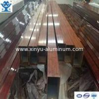 China Rectangle wood color powder coated extruded aluminium square tube profile on sale